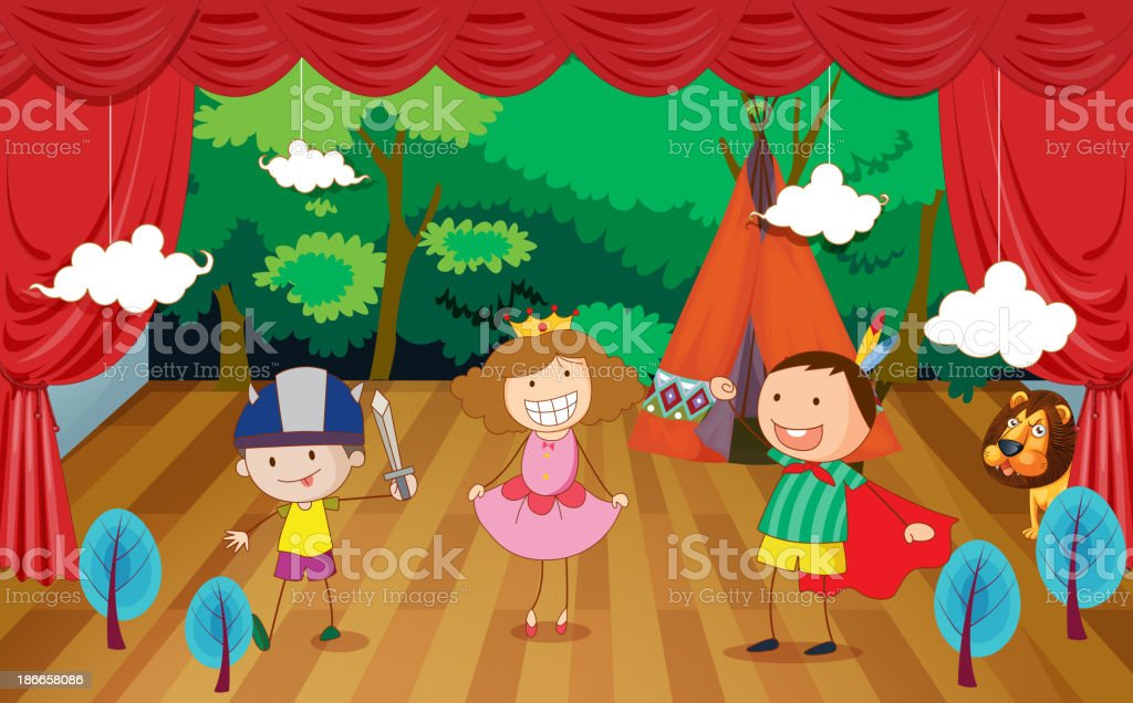 kids on a stage royalty-free stock vector art