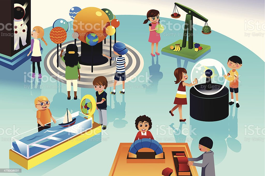 Kids on a trip to science center vector art illustration