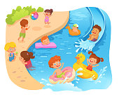 Kids on beach flat vector color illustration. Summer vacation. Children playing at sea, swimming pool with rings cartoon characters. Childhood entertainment, leisure. Children's camp. Water activities
