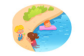 Kids swimming flat vector illustration. Summer vacation. Children playing in pool, river cartoon characters. Childhood entertainment, leisure. Little girl and boy with swimming ring. Water activities