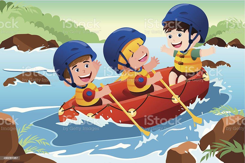 Kids on boat vector art illustration