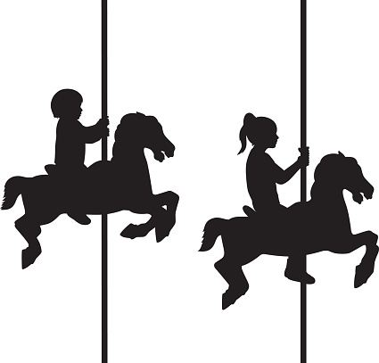 Kids on Carousel Silhouettes