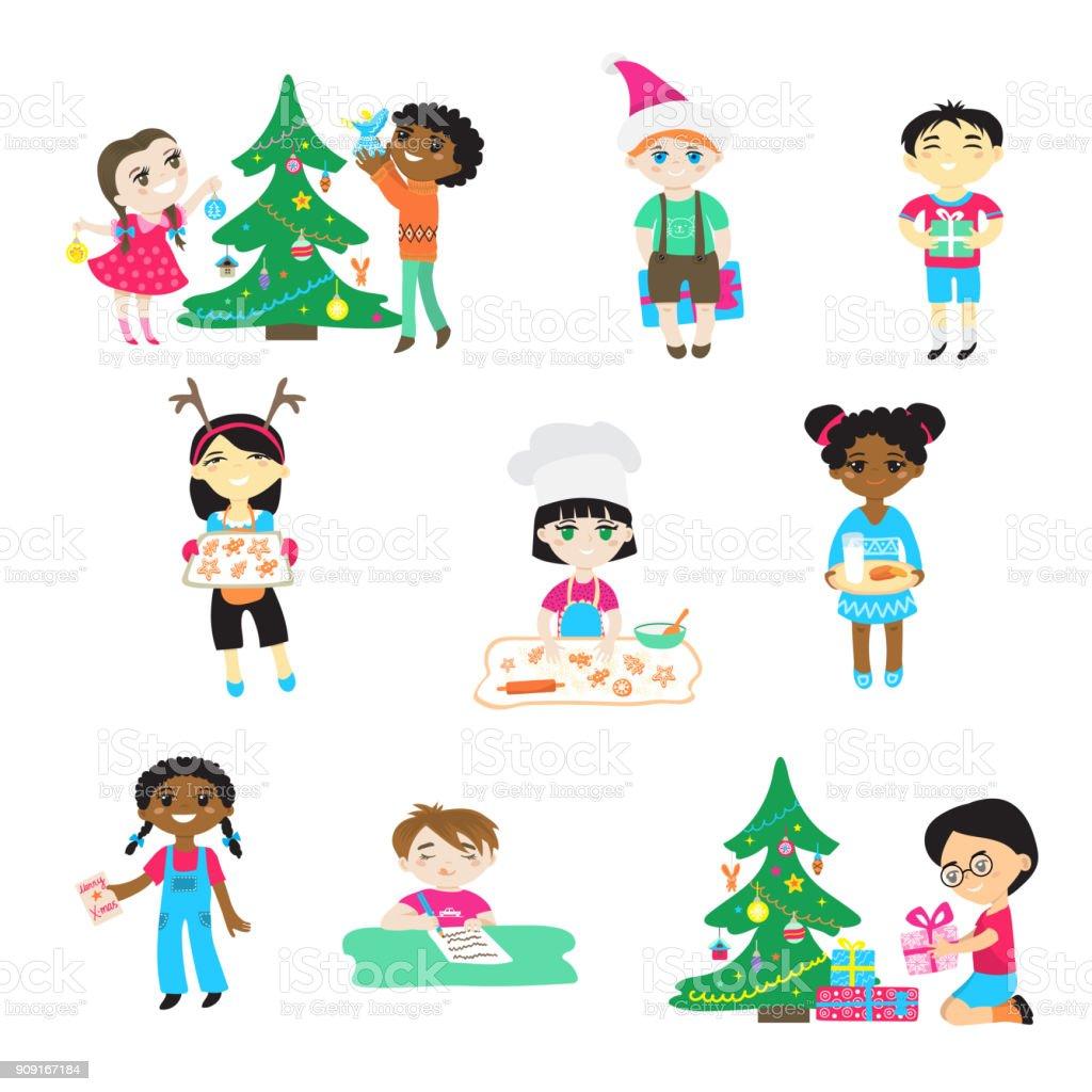 クリスマスに子供ベクトル漫画文字男の子子供サンタ帽子で女の子が