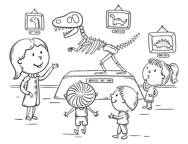 illustrations, cliparts, dessins animés et icônes de enfants sur l'excursion dans le musée de dinosaure ou d'histoire naturelle avec un guide ou un professeur, illustration de plan - museum