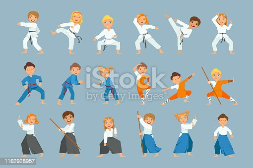 Kids On Martial Arts Training Set Of Bright Color Isolated Vector Drawings In Simple Cartoon Design On Blue Background
