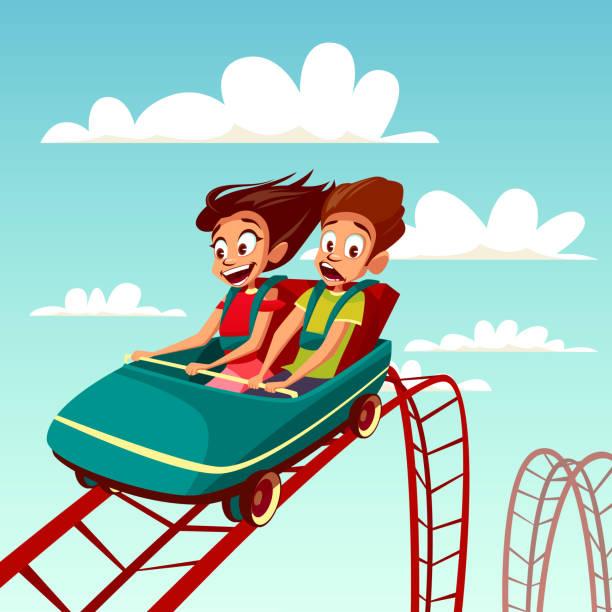 ilustrações, clipart, desenhos animados e ícones de miúdos em passeios ilustração dos desenhos animados do vetor da equitação do menino e da menina no rollercoaster no parque de diversões - rollercoaster