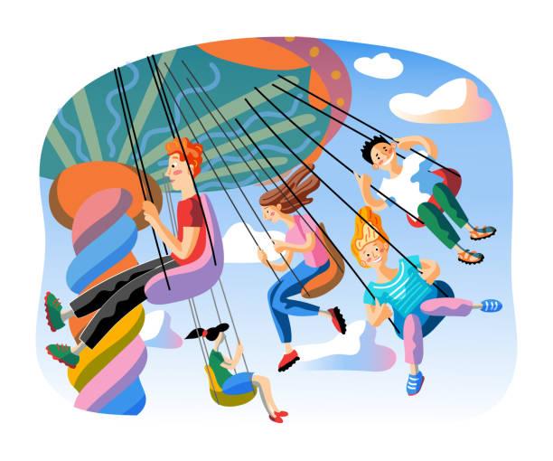 stockillustraties, clipart, cartoons en iconen met jonge geitjes op schommelrit vlakke vectorillustratie - mini amusementpark