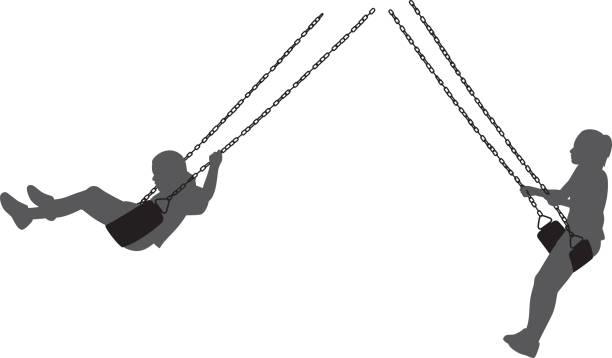 ilustrações de stock, clip art, desenhos animados e ícones de kids on swing silhouettes - balouço