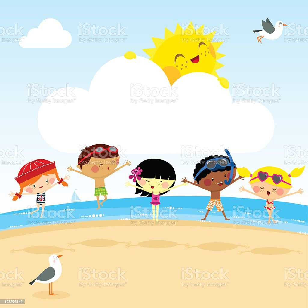 Kids on the beach. fun summer sun myillo illustration vector vector art illustration