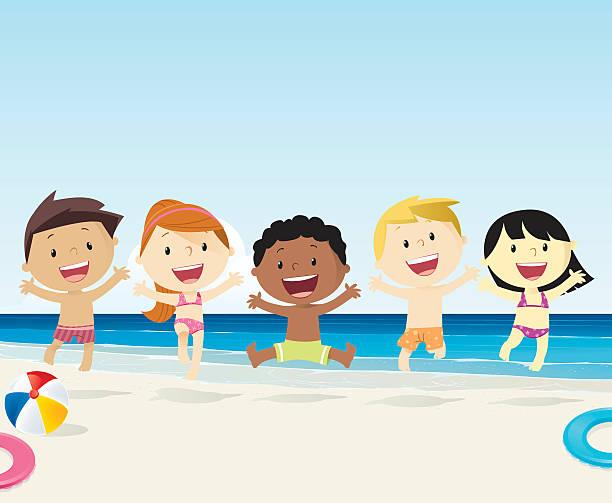 Kinder am Strand – Vektorgrafik