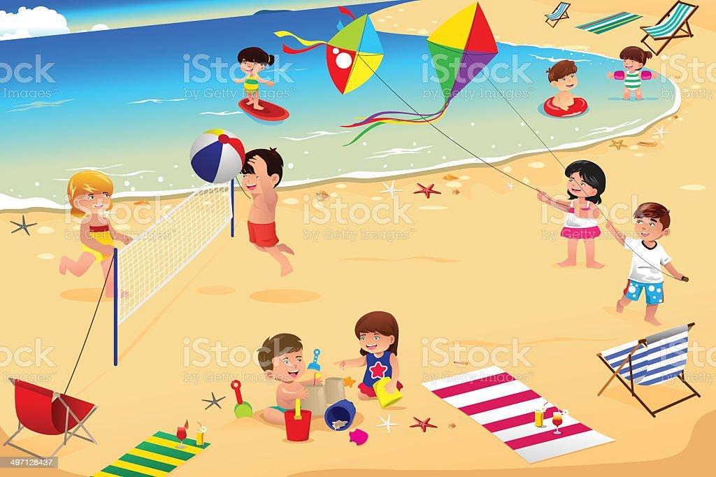 Kids on the beach vector art illustration