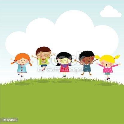 istock Kids on the hill happy jumping vector illustration myillo 96420810