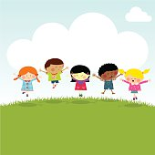 Kids on the hill happy jumping vector illustration myillo