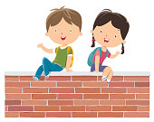Vector Kids on the red wall