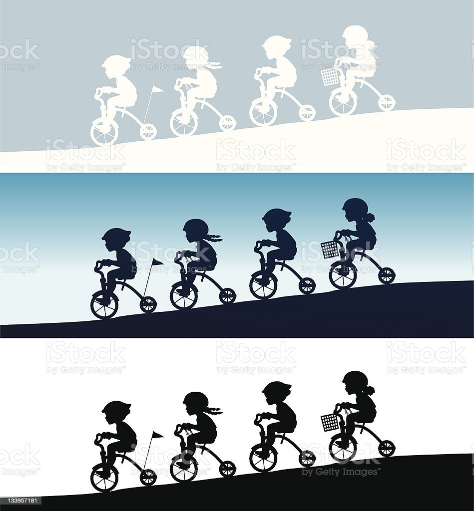 kids on tricycles vector art illustration