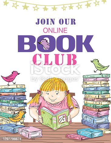 istock Kids Online Book Club Invitation Template 1297796674