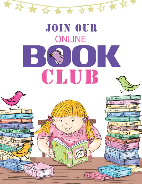 Kids Online Book Club Invitation Template Cute flyer for an online childrens reading club. Text is on a separate layer for easier editing. You can move objects around by releasing the clipping mask on. the layer with the books book club stock illustrations