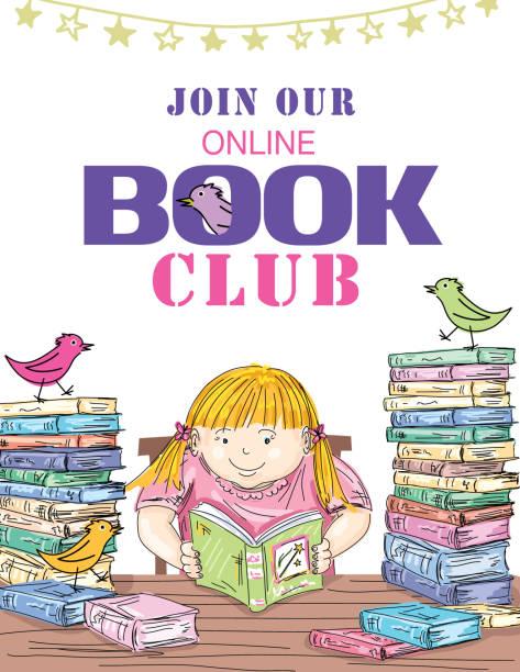 Kids Online Book Club Invitation Template vector art illustration