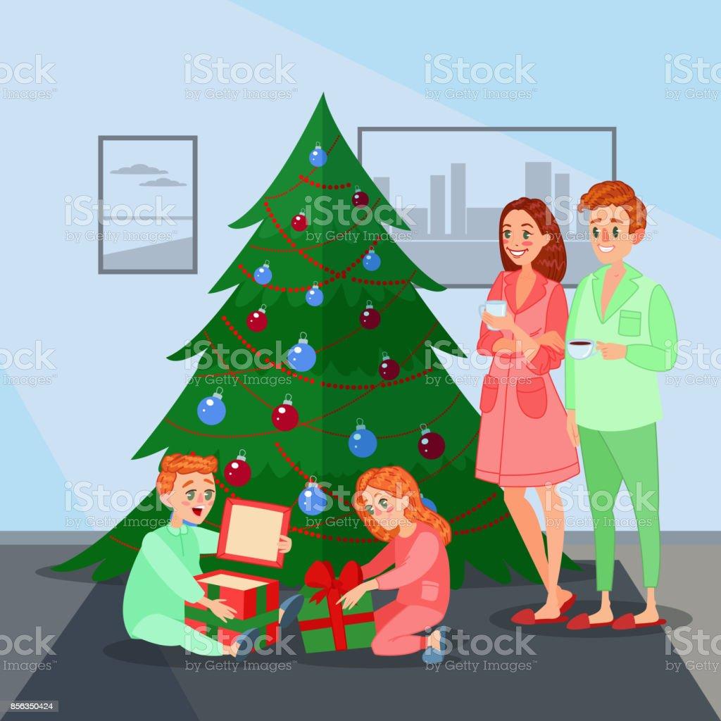 Kinder öffnet Weihnachtsgeschenke Glückliche Familie Stock Vektor ...