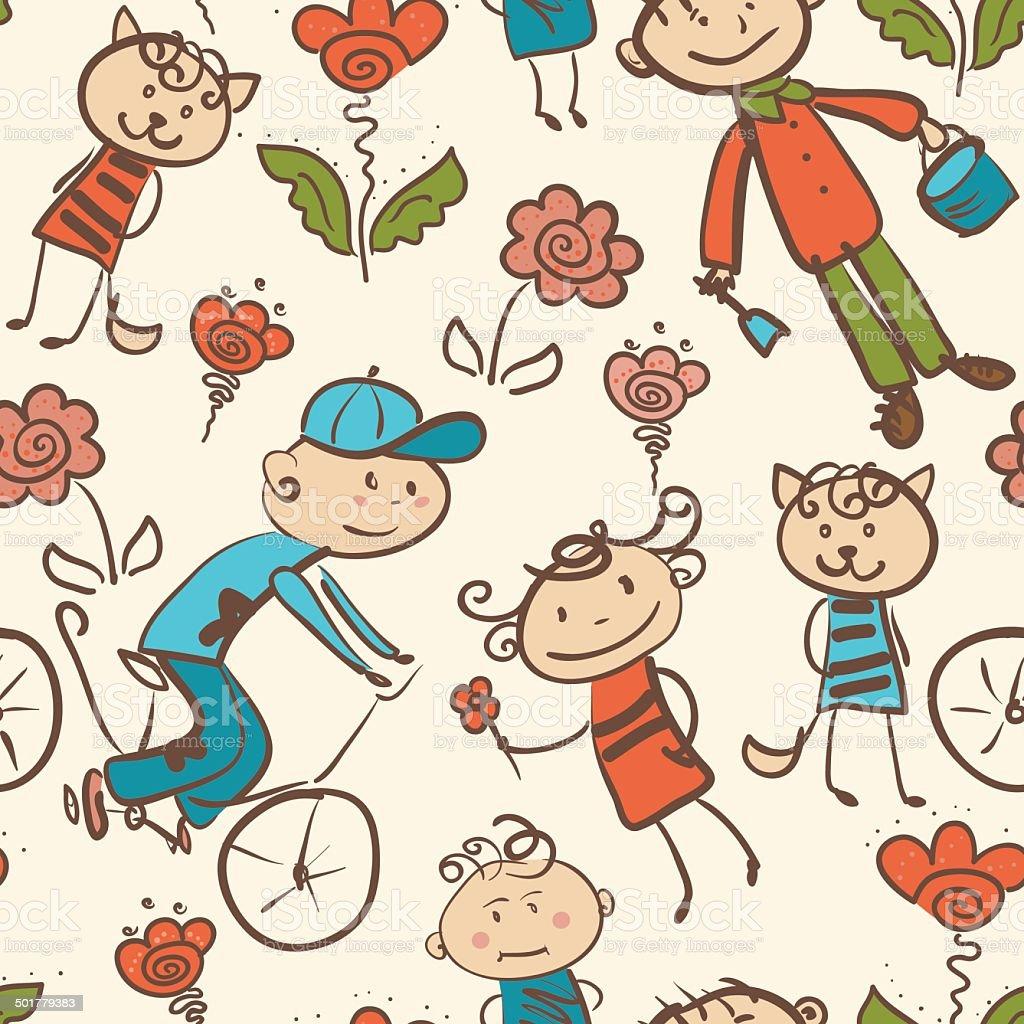 Ilustración de Recreación Al Aire Libre Para Niños Patrón Sin ...