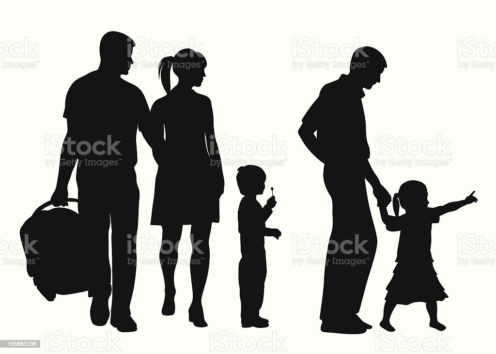 Kids Outing Vector Silhouette vector art illustration