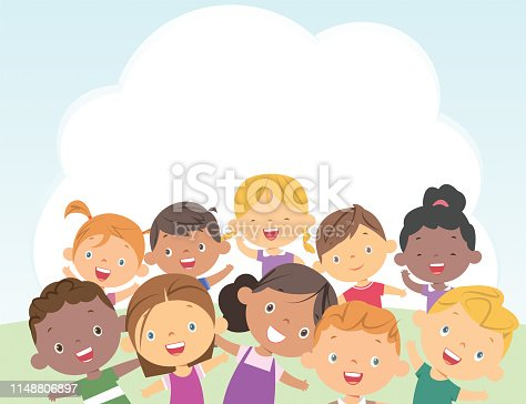 Vector kids over a white background