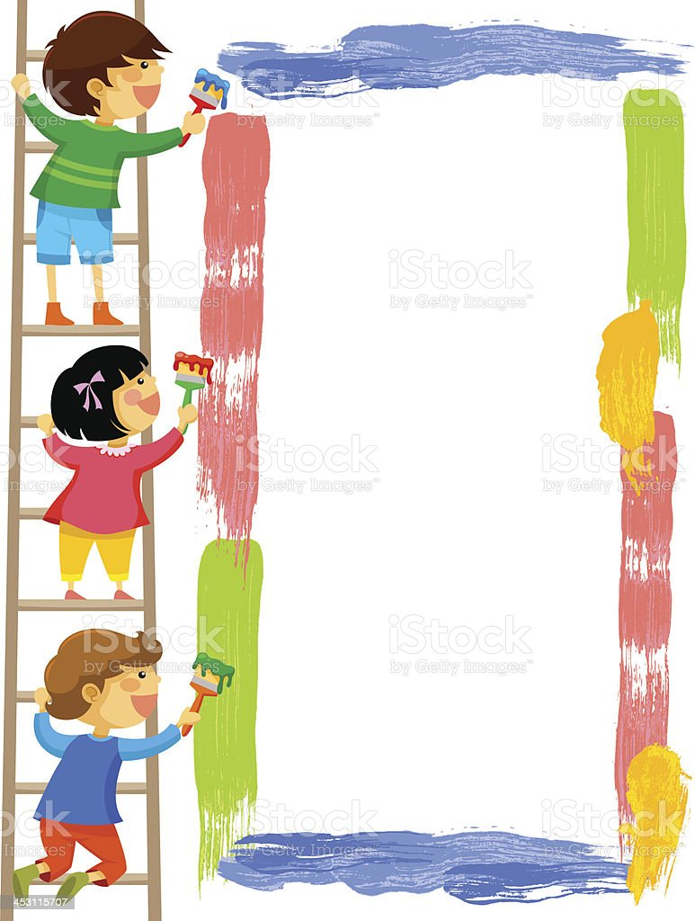 Kids Painting A Frame Stock Vector Art & More Images of Art ...