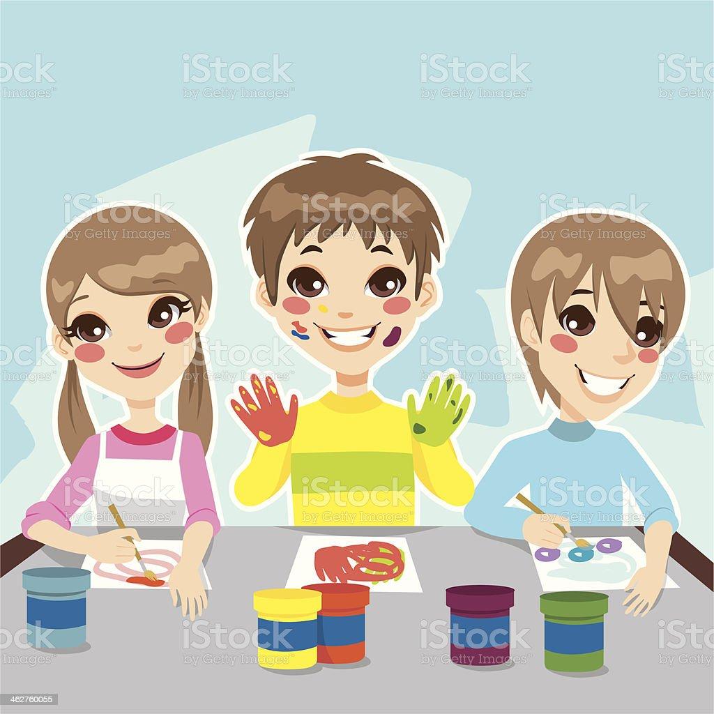 Ilustración de Niños Pintando Diversión y más banco de imágenes de ...