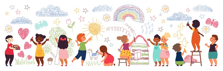 Kids painting on wall. Cute preschool girl, children with crayons draw picture. Drawing characters, school imagination activities decent vector set. Illustration kid drawing, joy and leisure