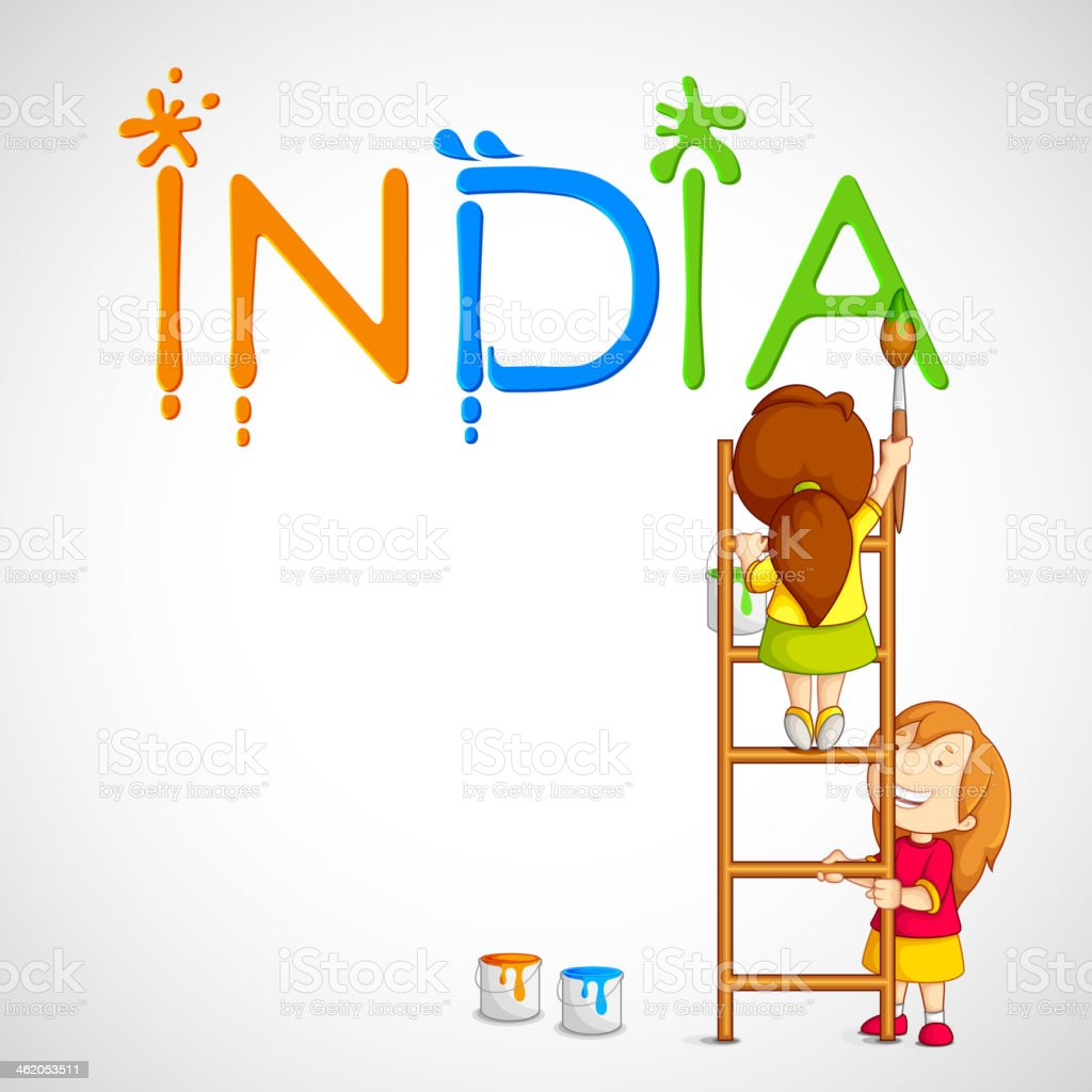 Kids Painting Tricolor India vector art illustration