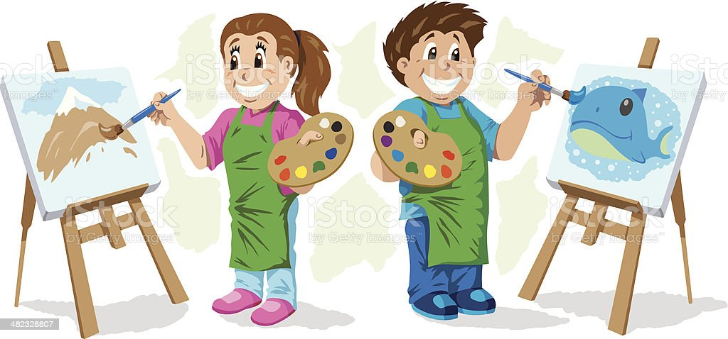 Kids painting vector art illustration