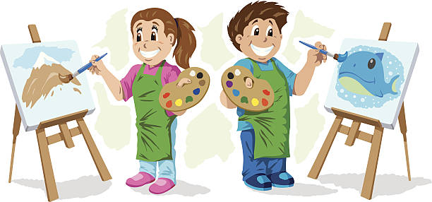 kids painting - art class stock illustrations, clip art, cartoons, & icons