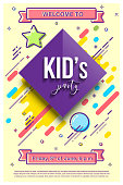 Kid's party design template. Vector illustration with mbe style elements.