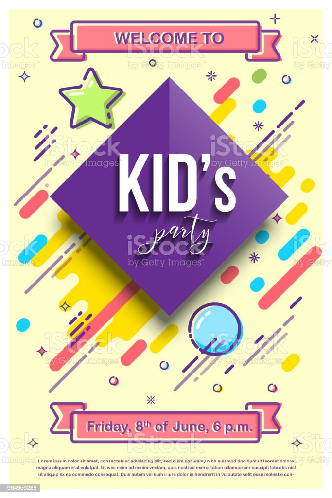 Kid's party design template. Vector illustration with mbe style elements. vector art illustration