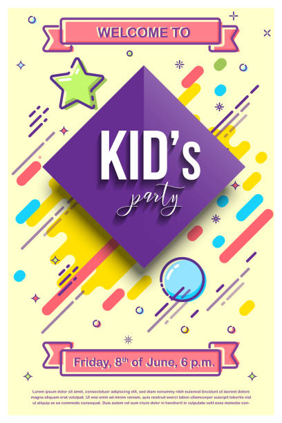 kid's party design template. vector illustration with mbe style elements. - children stock illustrations, clip art, cartoons, & icons