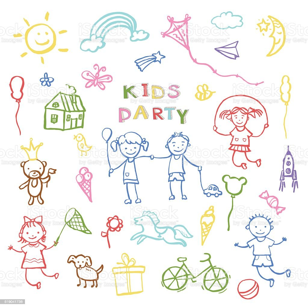 Kids party doodles for the design of childrens parties. vector art illustration