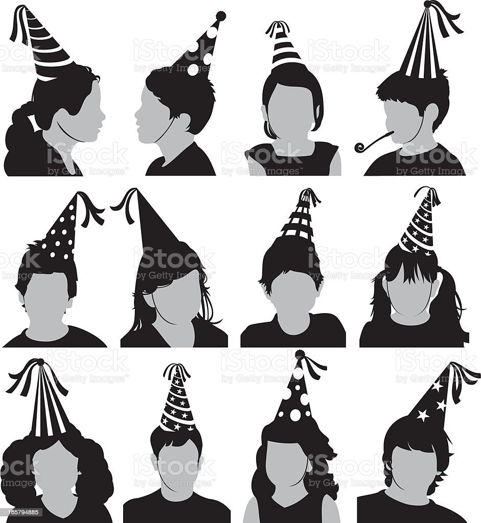 Kids Party Heads royalty-free stock vector art