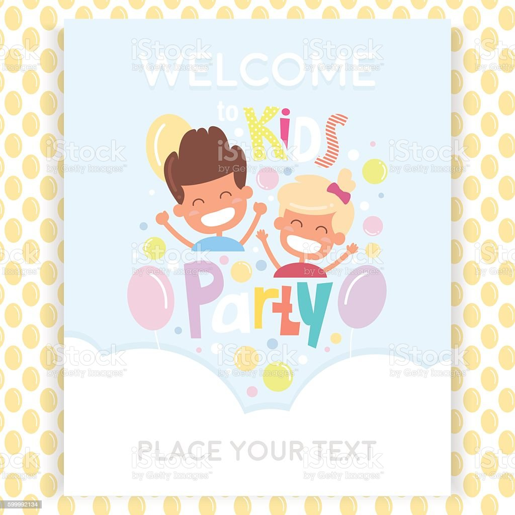 kids party invitation design template with happy children のイラスト
