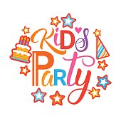 Kids Party Invitation Holiday For Children Banner Flat Vector Illustration
