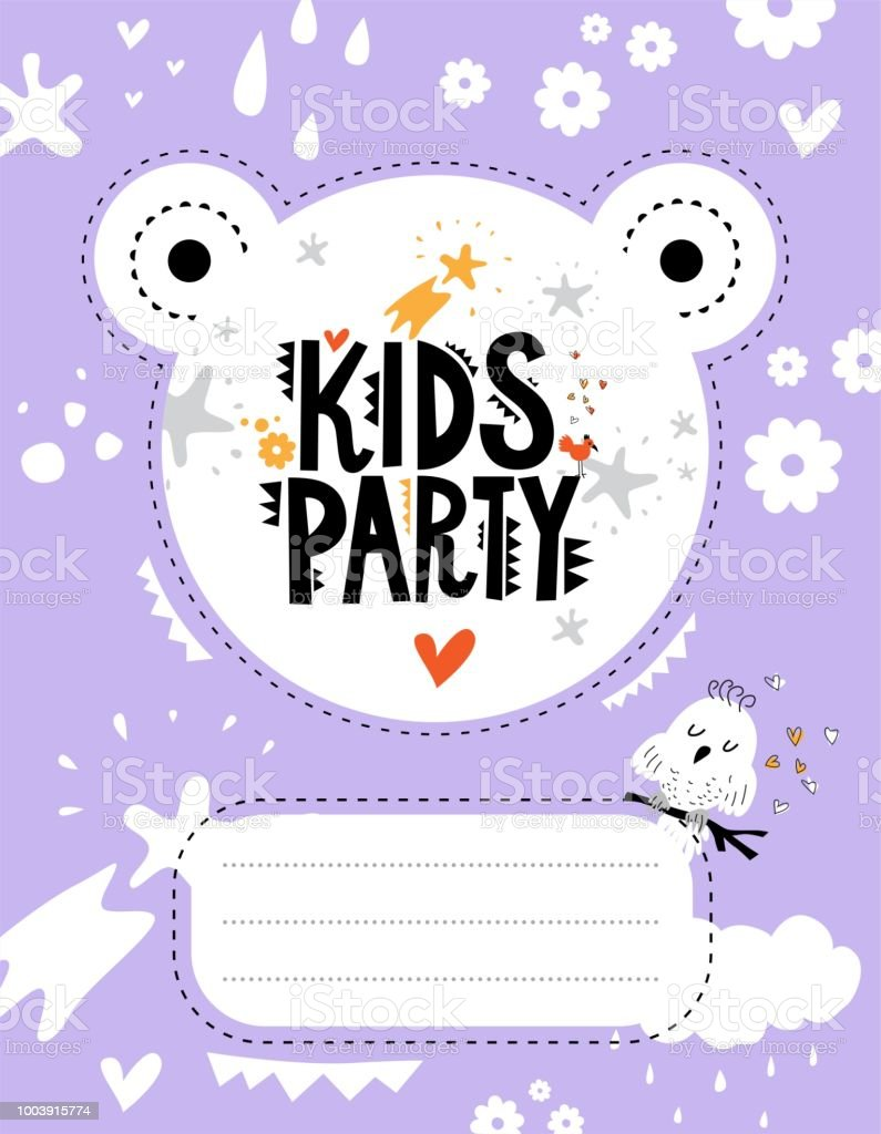 Kids Party Invitation Template Stock Vector Art More Images Of
