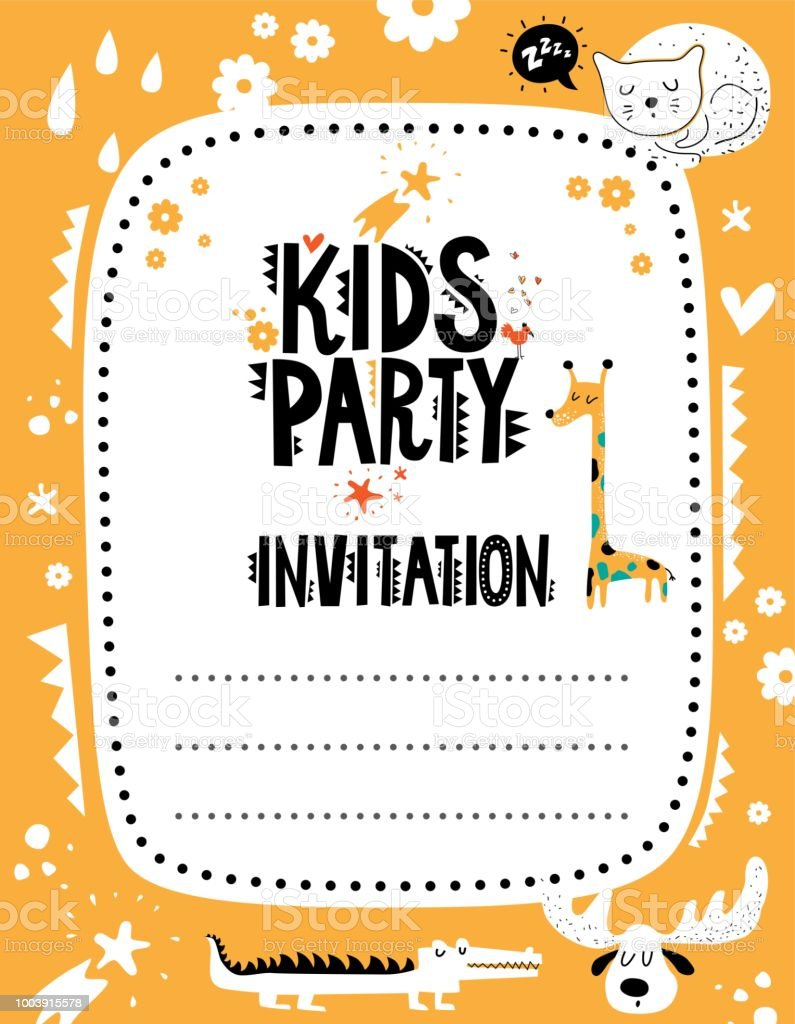 kids party invitation template with cute animals and elements stock