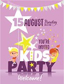 Kids party invitation template with happy children celebrating.