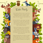 Cute kids party card with wild animals