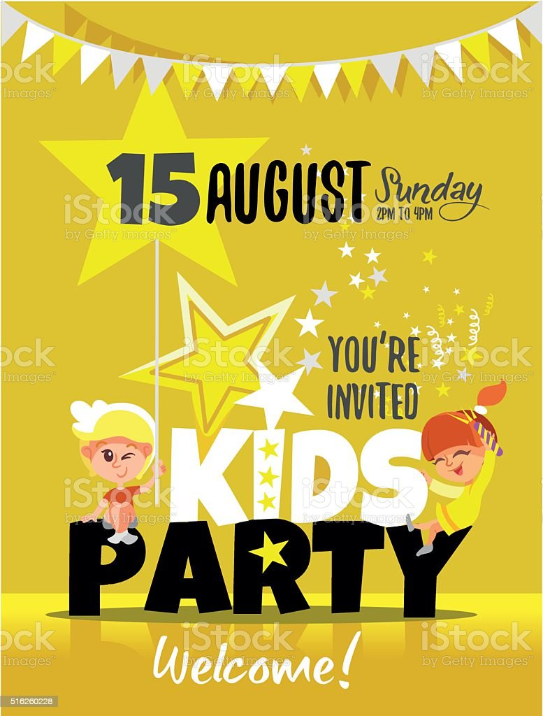 Kids Party Invitation With Happy Little Boy And Girl Stock Vector ...