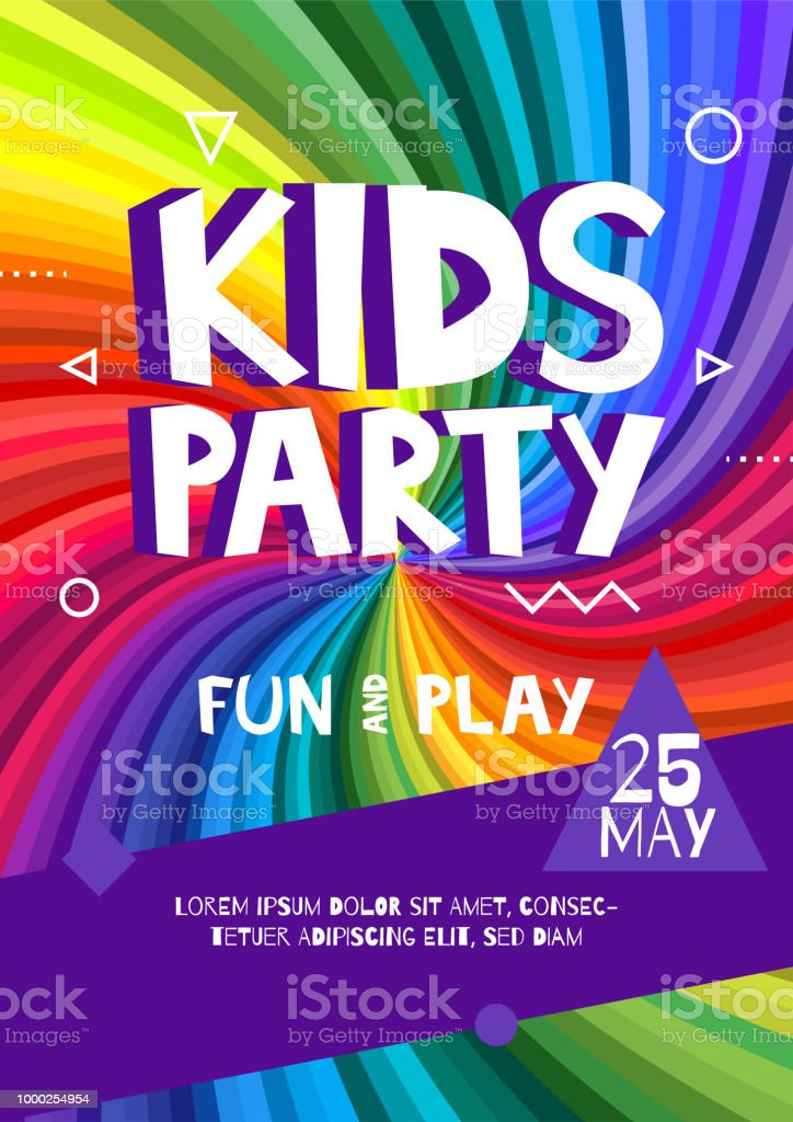 kids party letter sign poster cartoon letters and shapes in abstract rainbow rays colorful background