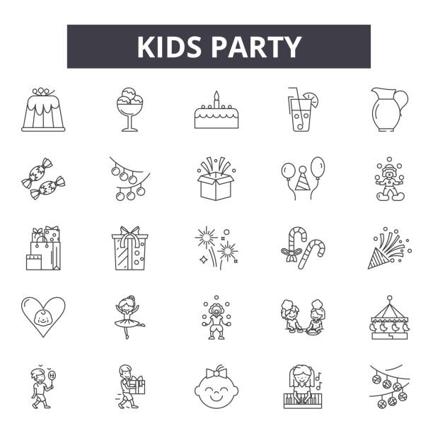 Kids party line icons, signs set, vector. Kids party outline concept, illustration: party,celebration,holiday,fun,birthday,kids,decartoon Kids party line icons, signs set, vector. Kids party outline concept illustration: party,celebration,holiday,fun,birthday,kids,decartoon cartoon of birthday cake outline stock illustrations