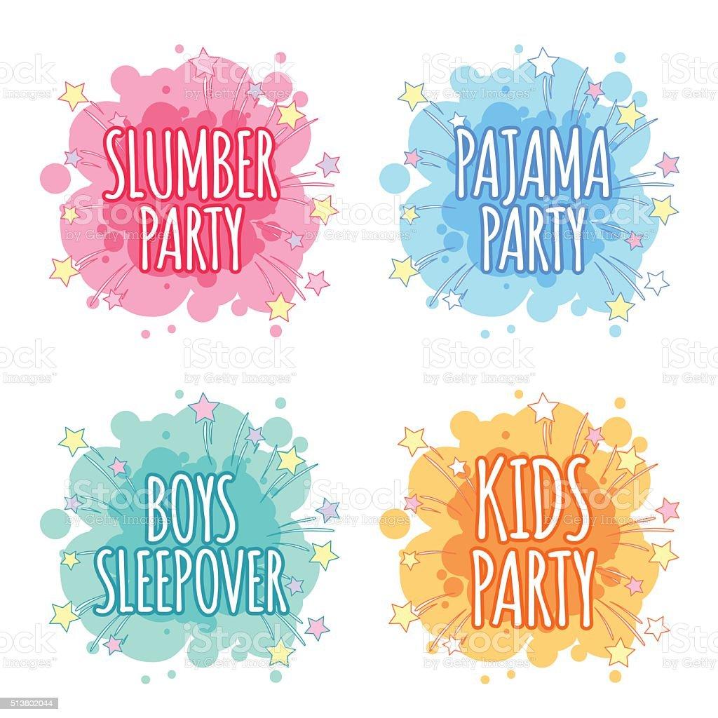 Kids party logo. Four badges for kids party. vector art illustration