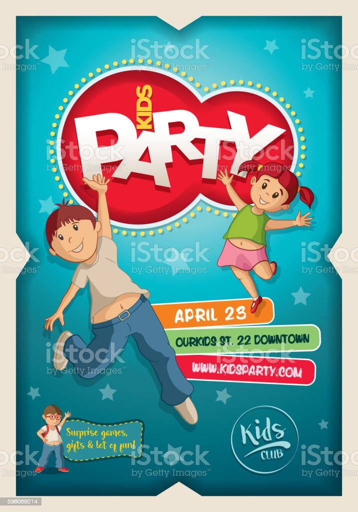 Kids Party Poster Design Template royalty-free kids party poster design template stock vector art & more images of backgrounds