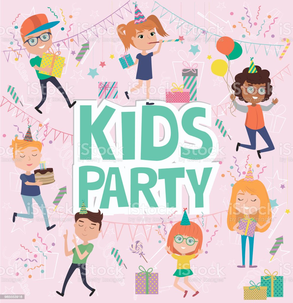 Kids party poster with fun cartoon characters invitation or greeting kids party poster with fun cartoon characters invitation or greeting card for party royalty m4hsunfo