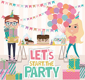 Kids party poster with fun cartoon characters. Invitation or greeting card for party. Editable vector illustration